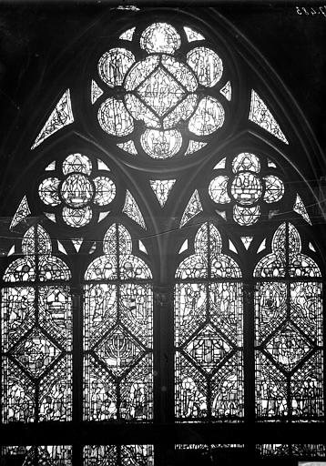 Vitrail, nef, vue du nord, deuxième fenêtre, partie haute