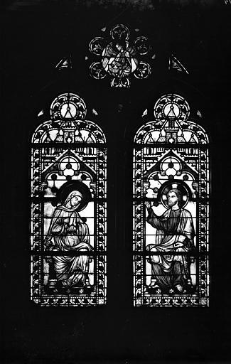 Vitrail, chapelle basse, milieu de l'abside, fenêtre