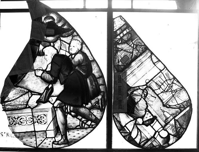 Vitrail de saint Nicolas, tympan, écoinçon
