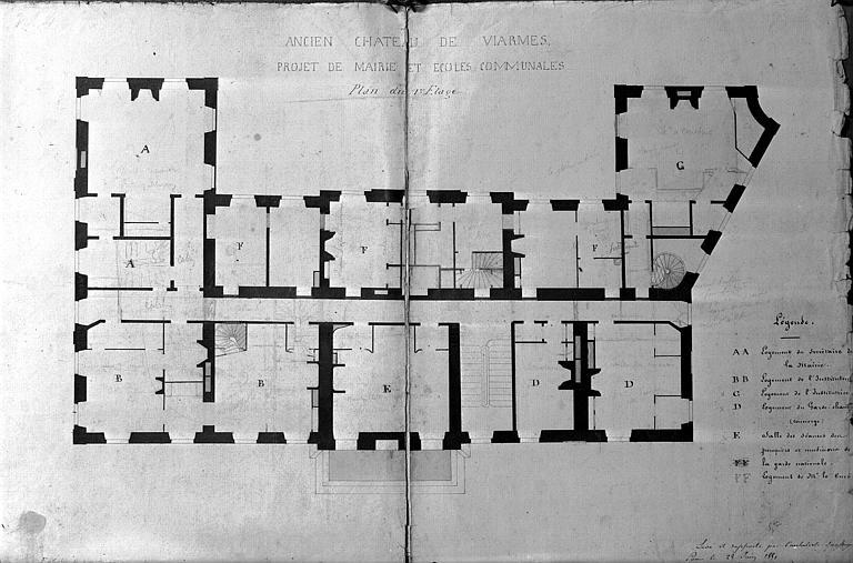 Reproduction d'un dessin, plan, projet de mairie et écoles