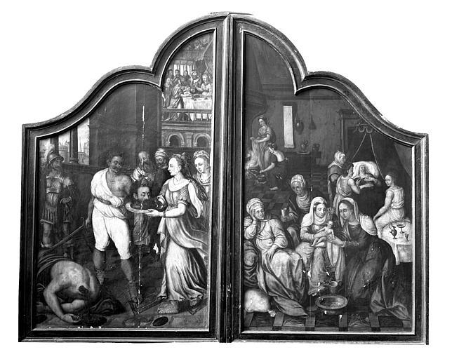 Diptyque, naissance et mort saint Jean-Baptiste. Diptyque peint : Naissance et décollation de saint Jean-Baptiste