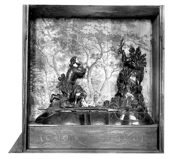 Légende de saint Hubert. Groupe sculpté en bois polychrome : La chasse de saint Hubert