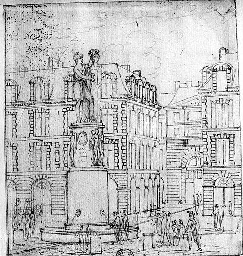 Dessin, vue de la place Dauphine et de la fontaine Desaix