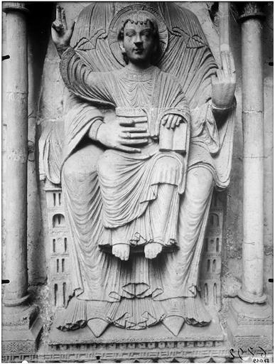 Façade ouest, porte Sainte-Anne : Vierge à l'Enfant, détail