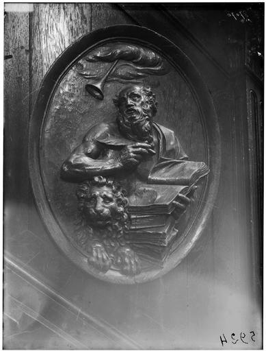 Chaire, bas-relief : saint Jérôme