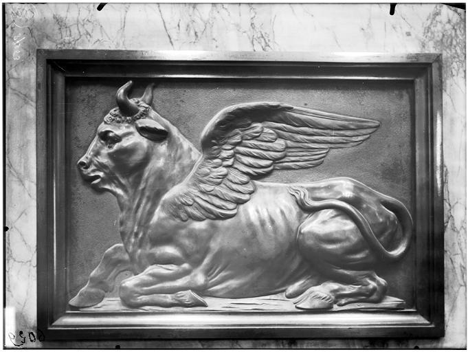 Chaire, bas-relief : Le Boeuf de saint Luc