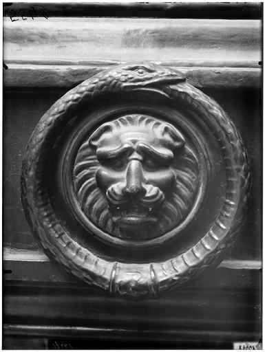 Heurtoir : tête de lion et serpent