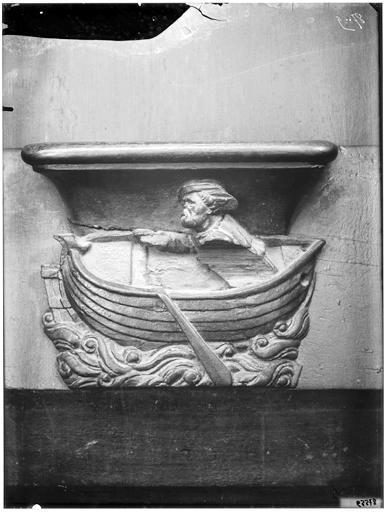 Miséricorde de stalle : Le Batelier à ses rames, personnification de sa guilde