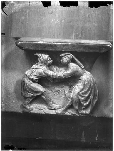 Miséricorde de stalle : couple dansant à la Fête des Fous