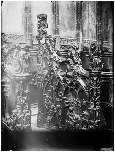 Stalles, côté sud : Education de la Vierge, Présentation de la Vierge au Temple, Vierge et sainte Anne