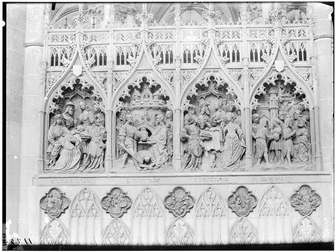 Histoire de saint Jean-Baptiste, Décollation de saint Jean, Hériodade frappant de son couteau la tête du saint, Le Festin d'Hérode, Saint Jean devant Hérode et mis en prison
