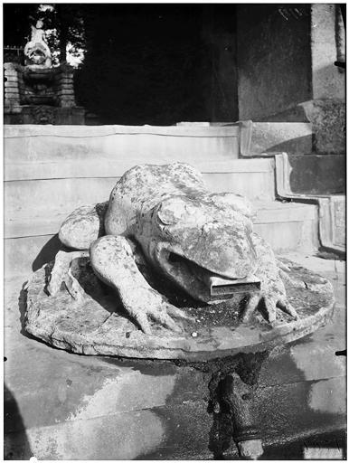La grande cascade, sculpture de grenouille