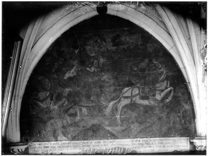 Intérieur, chapelle absidiale, peinture murale, cavalier