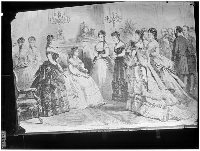 Gravure : Le cercle de l'Impératrice Eugénie dans le salon de famille de la résidence de Compiègne