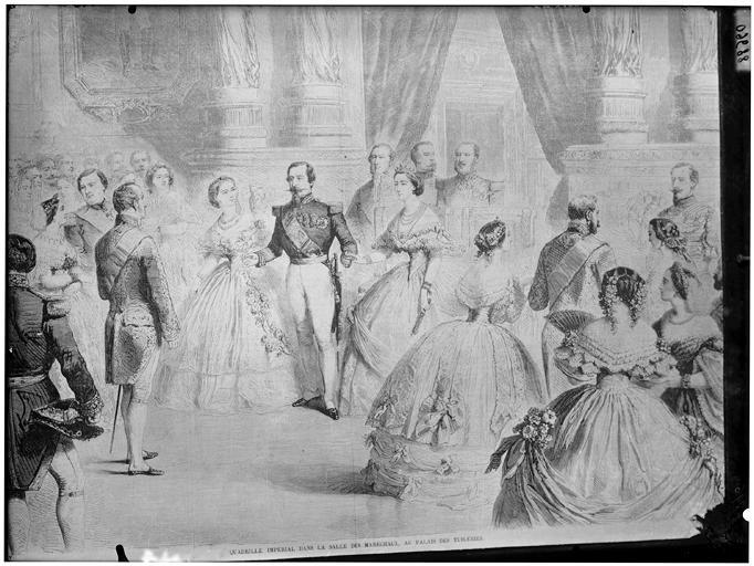 Gravure : Quadrille impérial dans la Salle des maréchaux du Palais des Tuileries, Napoléon III