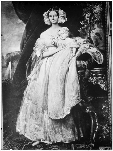 Peinture : portait d'une jeune femme accompagnée d'un bébé