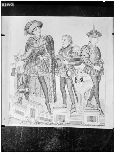 Illustration de livre : hommes et lévrier, époque Moyen-âge