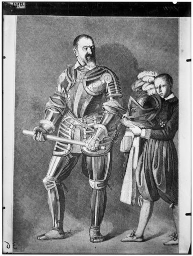 Gravure : Grand homme en armure avec serviteur, époque Henri III ou Henri IV