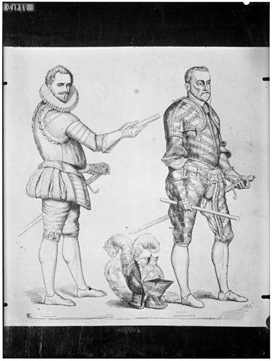 Illustration de livre : militaires en armure d'époque Henri III ou Henri IV