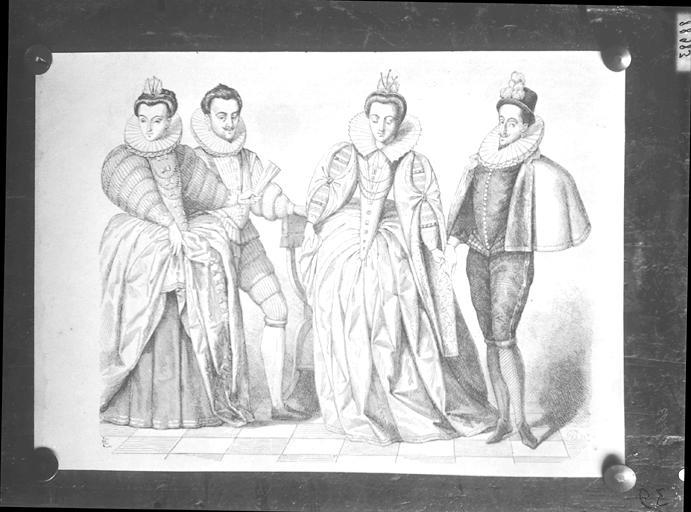 Illustration de livre : personnages en costumes Henri III