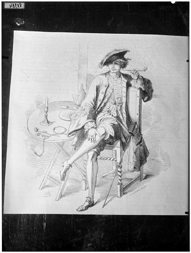 Illustration de livre : portrait d'un gentilhomme dans un intérieur