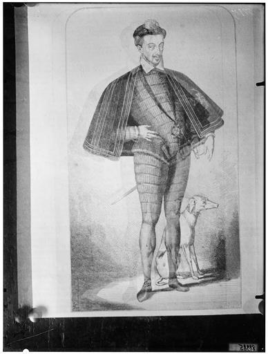 Illustration de livre : portrait de Henri III, avec son lévrier