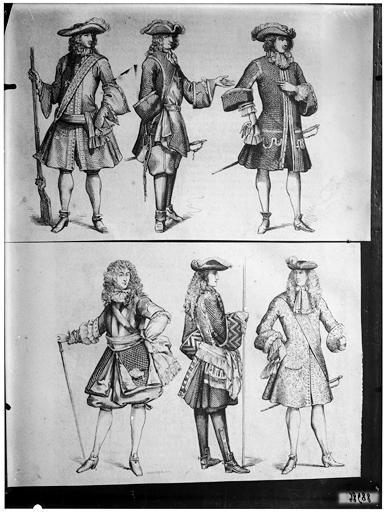 Illustrations de livre : deux gravures de militaires en costumes Louis XIV