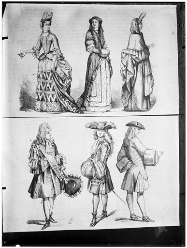 Illustrations de livre : deux gravures de personnages en costumes Louis XIV