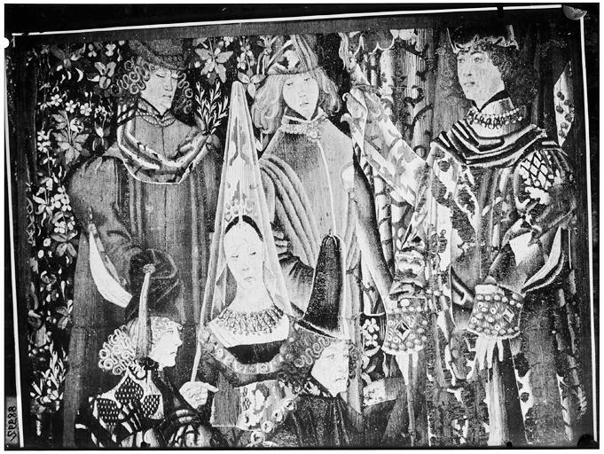 Tapisserie médiévale, détail : dame et gentilshommes