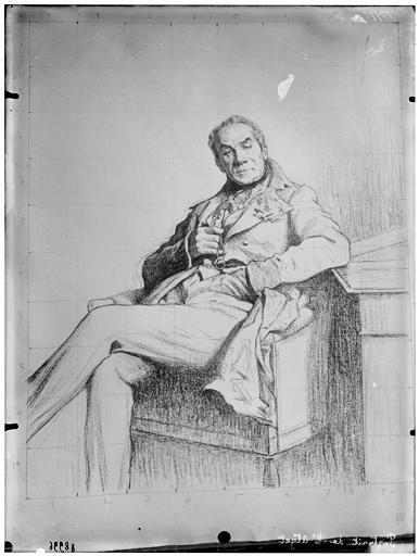 Reproduction d'un dessin : portrait de M Atget