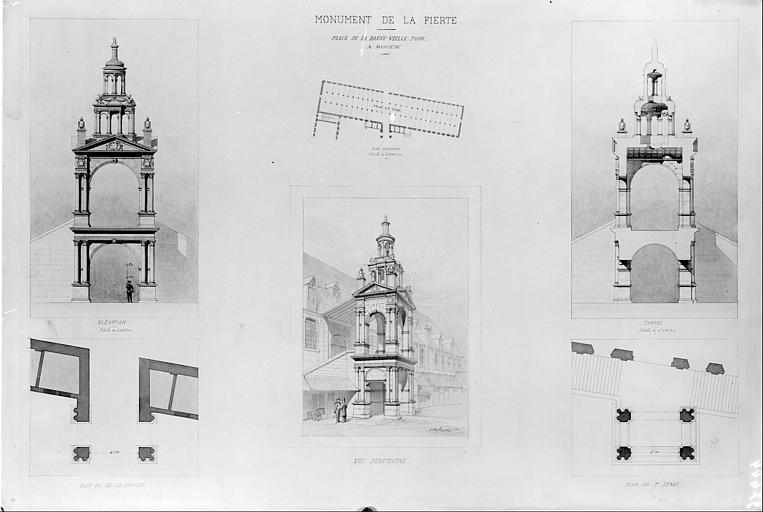 Plan de la Halle aux Toiles et de la Fierté Saint-Romain : Vue perspective, élévation, coupe, plans du rez-de-chaussée et du premier étage de la Fierté