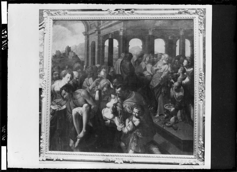 Tableau : La Mort de Saphire, huile sur toile, par Jacques de Backer, 2e moitié 16e siècle
