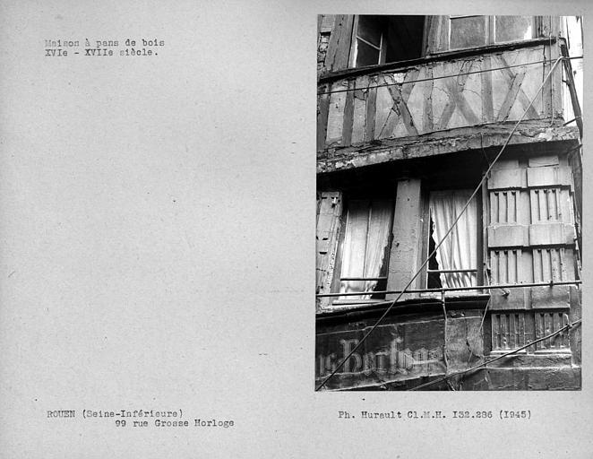 Premier étage de la façade en pan-de-bois, côté rue des Vergetiers