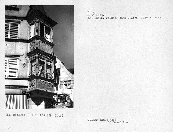 Oriel à l'angle de la façade sur rue