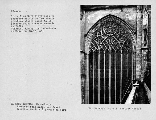 Fenestrage du bras nord du transept, deuxième fenêtre haute à partir du nord, mur ouest