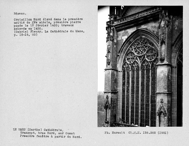 Fenestrage du bras nord du transept, mur ouest, première fenêtre haute à partir du nord
