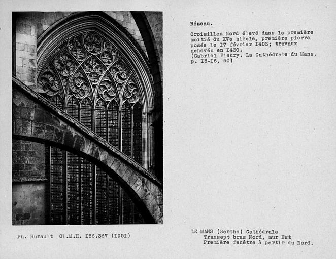 Fenestrage du bras nord du transept, mur est, première fenêtre haute à partir du nord