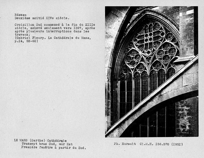 Fenestrage du bras sud du transept, mur est, première fenêtre haute à partir du sud