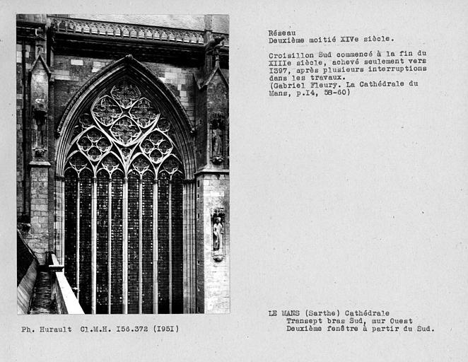 Fenestrage du bras sud du transept, mur ouest, deuxième fenêtre haute à partir du sud