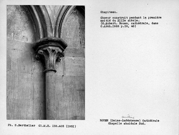 Chapiteau de colonne adossée de la chapelle sud du déambulatoire