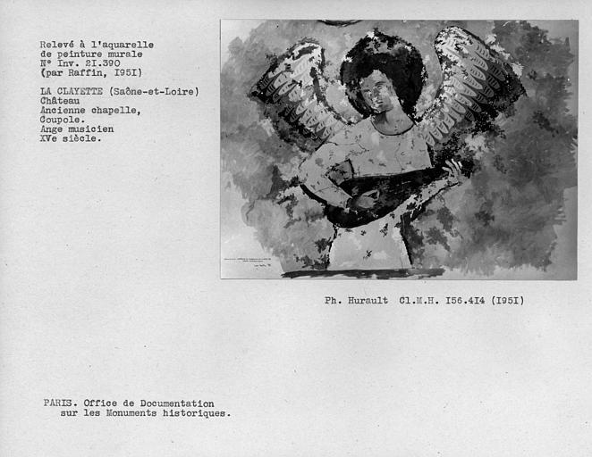 Relevé de peinture murale de la chapelle : ange musicien