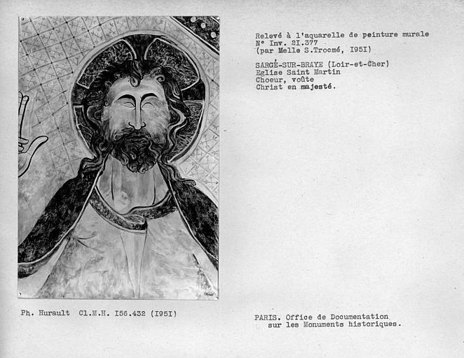 Relevé de peinture murale de la voûte du choeur : tête du Christ