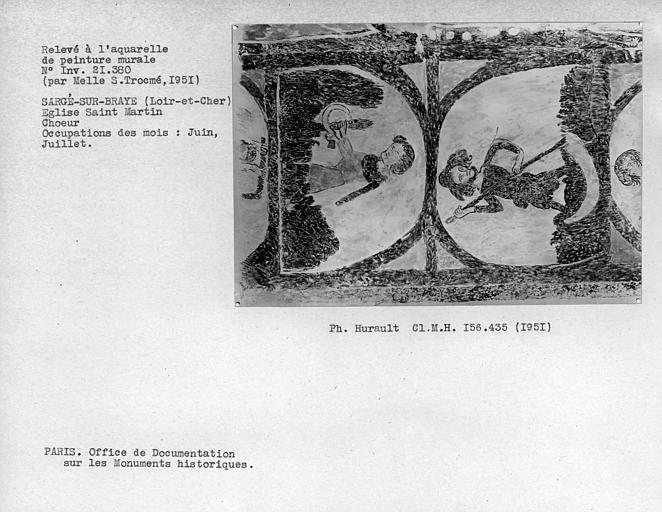 Relevé de peinture murale de la voûte du choeur : occupation des mois de juin et juillet