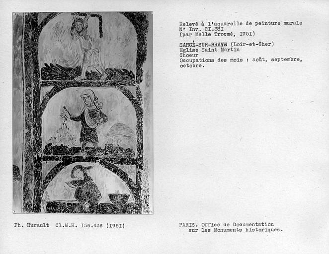 Relevé de peinture murale de la voûte du choeur : occupation des mois d'aôut, septembre et octobre