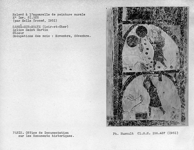 Relevé de peinture murale de la voûte du choeur : occupation des mois de novembre et décembre