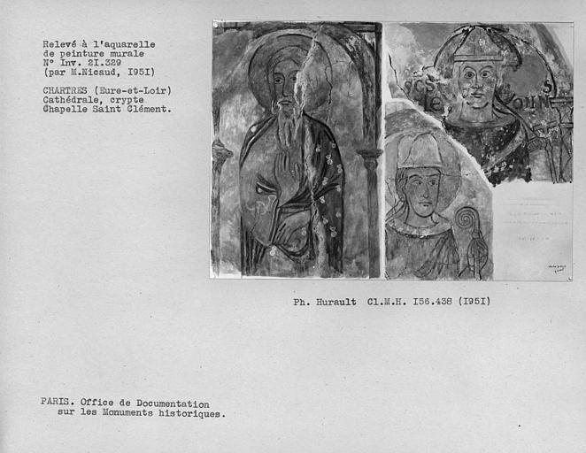 Relevé de peinture murale : Le Christ, têtes des cinquième et sixième personnages