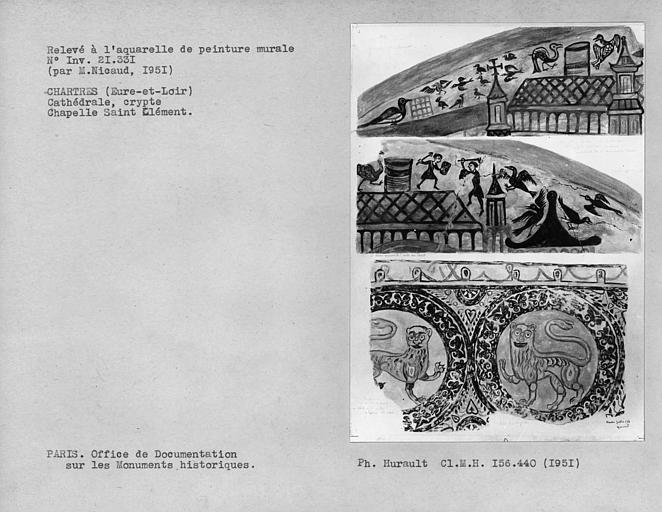 Relevé de peinture murale : motifs décoratifs