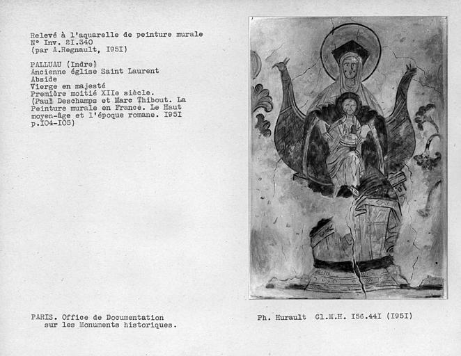 Relevé de peinture murale de l'abside : Vierge à l'Enfant, ensemble