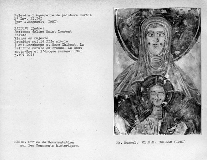 Relevé de peinture murale de l'abside : Vierge à l'Enfant, détail