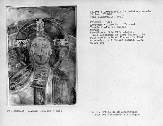 Relevé de peinture murale de la travée droite du choeur : Christ